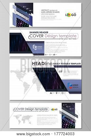 Social media and email headers set, modern banners. Business templates. Easy editable abstract design template, vector layouts in popular sizes. Abstract colorful neon dots, dotted technology background. Glowing particles, led light pattern, futuristic te