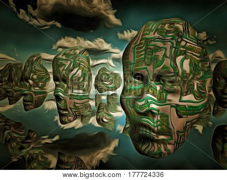 Surreal painting. Masks with electronic circuit pattern hovers in the sky.   3D Render