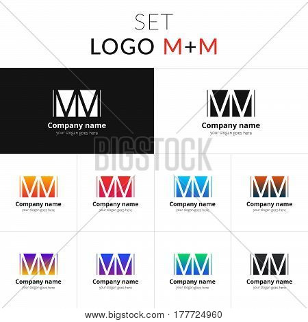 M and M letter logo set vector design. Abstract business logo on gradient color background. Monochrome monogram icon template. Colorful symbol on isolated white background.