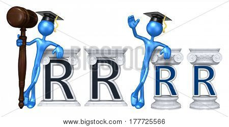Education Lawyer Leaning On A Letter R The Original 3D Character Illustration