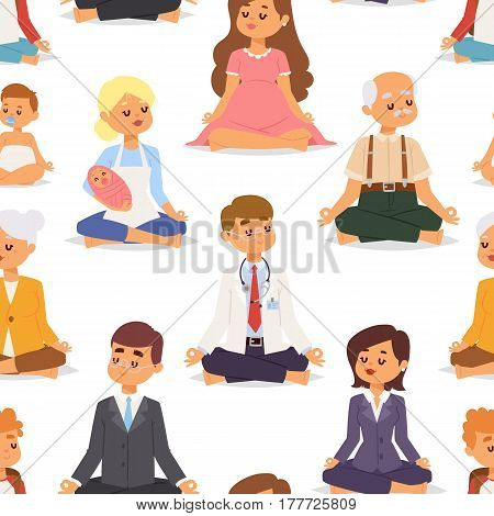 Lotus position yoga pose meditation art relax people relax isolated on white seamless pattern background design character vector illustration