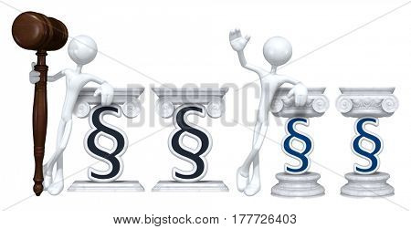 Lawyer Leaning On A Section Symbol The Original 3D Character Illustration