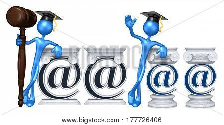 Education Lawyer Leaning On A Email Symbol The Original 3D Character Illustration