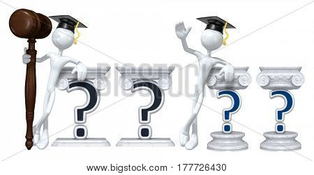 Education Lawyer Leaning On A Question The Original 3D Character Illustration