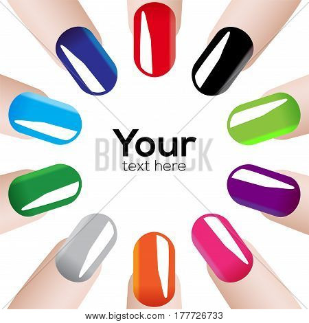 Vector illustration with colored Fashion nails in circle