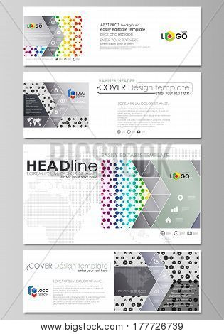 Social media and email headers set, modern banners. Business templates. Easy editable abstract design template, vector layouts in popular sizes. Chemistry pattern, hexagonal design molecule structure, scientific, medical DNA research. Geometric colorful b