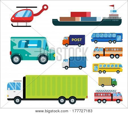 Transport delivery vector trucks ship isolated on white. Transportation cars, bus, truck, van, fire truck, helicopter, van truck, tanker.