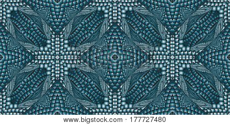 Kaleidoscopic turquoise seamless pattern is computer graphics and it can be used in the design of textiles in the printing industry in a variety of design projects.