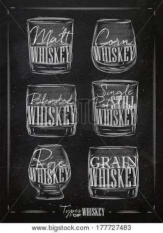 Poster types of whiskey with glasses lettering malt corn grain blended single post still rye in vintage style drawing with chalk on chalkboard background