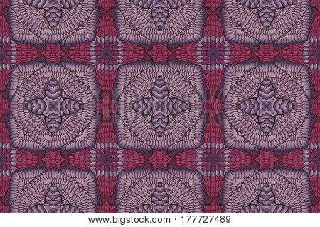 Kaleidoscopic vinous and gray seamless pattern is computer graphics and it can be used in the design of textiles in the printing industry in a variety of design projects.