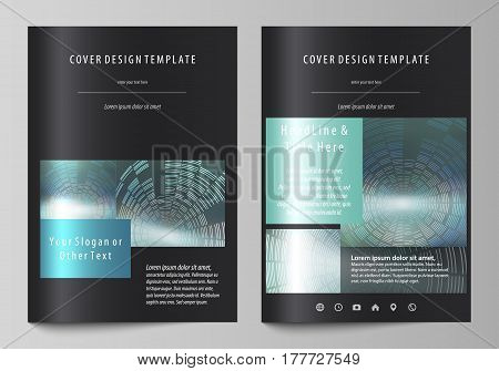 Business templates for brochure, magazine, flyer, booklet or annual report. Cover design template, easy editable vector, abstract flat layout in A4 size. Technology background in geometric style made from circles.