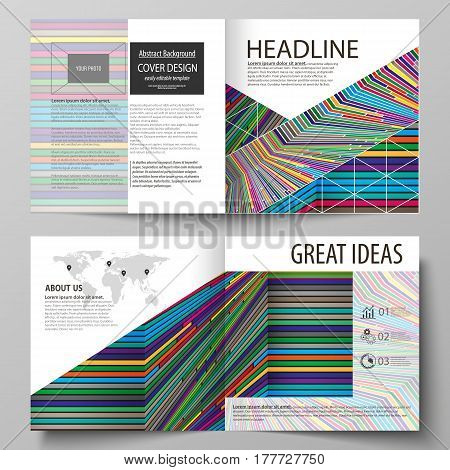 Business templates for square design bi fold brochure, magazine, flyer, booklet or annual report. Leaflet cover, abstract flat layout, easy editable vector. Bright color lines, colorful style with geometric shapes forming beautiful minimalist background.