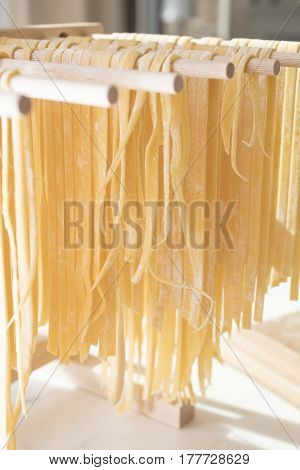 Homemade Spaghetti Drying on a Pasta Rack