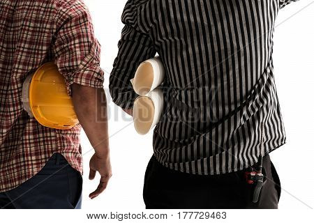 Back view two civil engineers discussing project isolated on white