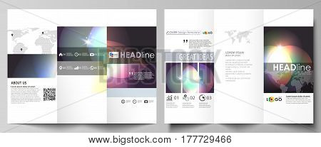 Tri-fold brochure business templates on both sides. Easy editable abstract vector layout in flat design. Retro style, mystical Sci-Fi background. Futuristic trendy design.