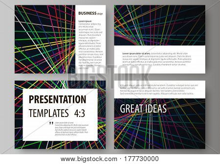 Set of business templates for presentation slides. Easy editable abstract vector layouts in flat design. Bright color lines, colorful beautiful background. Perfect decoration