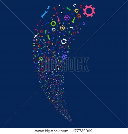 Repair Instruments random fireworks stream. Vector illustration style is flat bright multicolored iconic symbols on a blue background. Object fountain done from scattered pictographs.