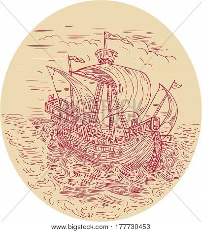 Drawing sketch style illustration of a tall ship sailing in stormy turbulent ocean sea set inside oval shape.