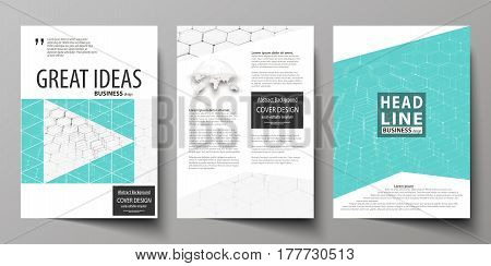 Business templates for brochure, magazine, flyer, booklet or annual report. Cover design template, easy editable vector, abstract flat layout in A4 size. Chemistry pattern, hexagonal molecule structure on blue. Medicine, science and technology concept.