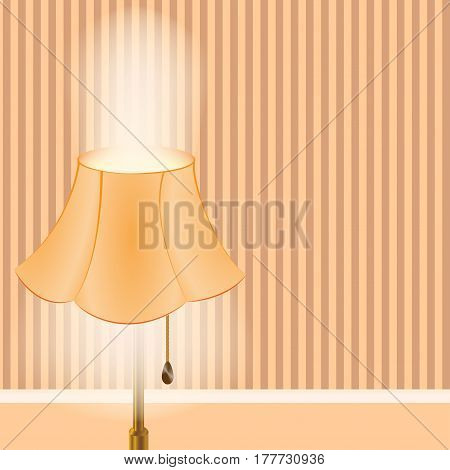 Floor lamp . The light is on . Interior of the room. Wallpaper with space for text. Vector illustration