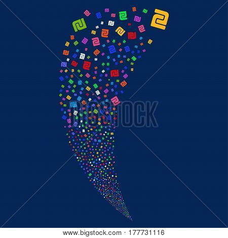Shekel random fireworks stream. Vector illustration style is flat bright multicolored iconic symbols on a blue background. Object fountain created from scattered pictographs.