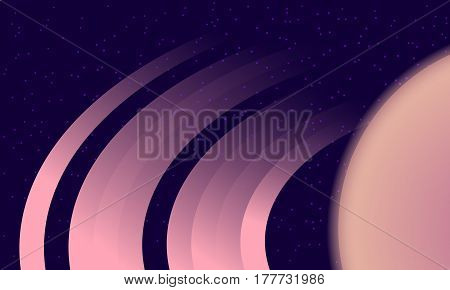 Saturn Rings on starry background. Space exploration illustration.