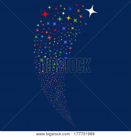 Space Star random fireworks stream. Vector illustration style is flat bright multicolored iconic symbols on a blue background. Object fountain created from scattered pictograms.