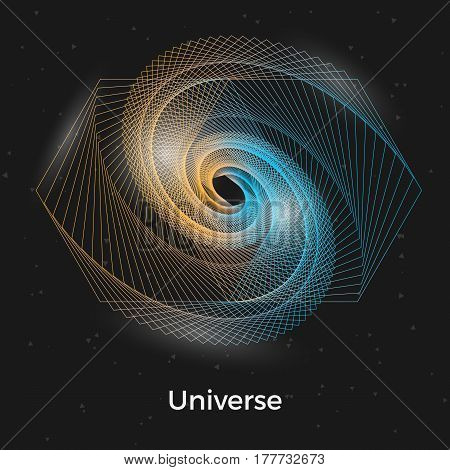 Spiral galaxy illustration with shining effects and particles. Stylish geometric vector background. Universe with black hole in the middle.