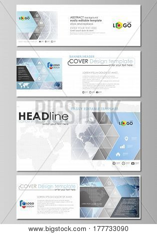 The minimalistic vector illustration of the editable layout of social media, email headers, banner design templates in popular formats. Technology concept. Molecule structure, connecting background