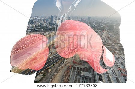 Double Exposure Businessman Ready To Fight