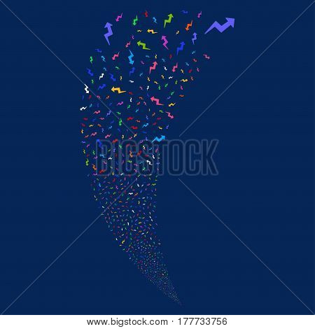 Trend random fireworks stream. Vector illustration style is flat bright multicolored iconic symbols on a blue background. Object fountain done from scattered pictographs.