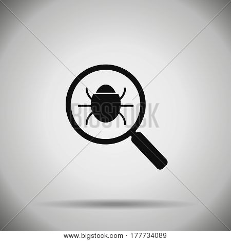 search bug icon . Virus symbol  magnifier and bug