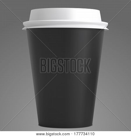 Realistic white coffee cup vector mockup isolated on grey background