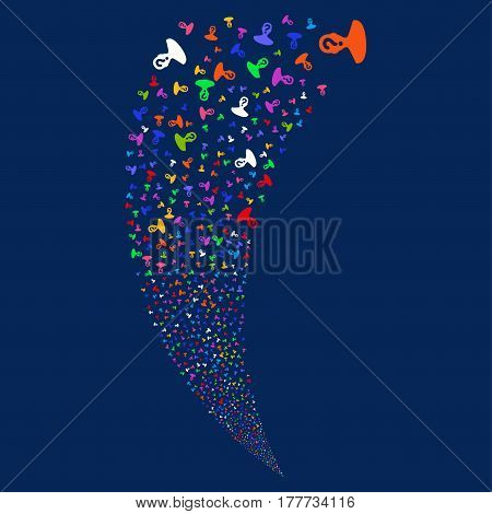 Unknown Person random fireworks stream. Vector illustration style is flat bright multicolored iconic symbols on a blue background. Object fountain made from scattered icons.