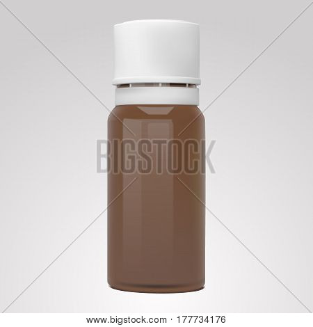 Vector realistic bottle for essential oils and cosmetic products, isolated on gray background