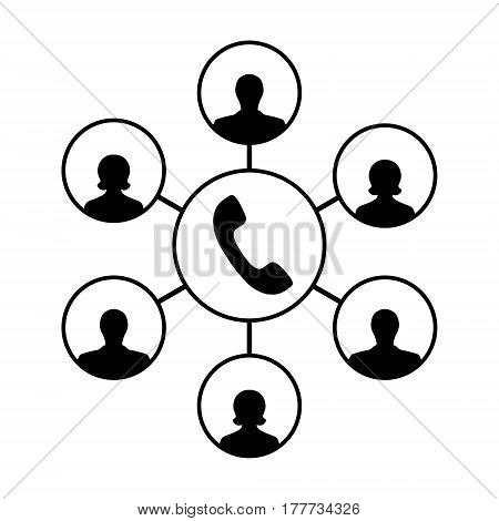 Icon of advanced call center, an operator, callers clients, handset and customers, vector concept callcenter