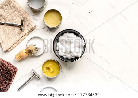 babrer workplace with tools for shaving on white table background top view mock up