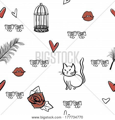 seamless romantic vector elements pattern, vector eps 8, editable, for love,wedding, valentine backgroung or greeting card