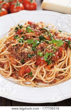 Italian pasta bolognese, spaghetti with ground beef and tomato sauce