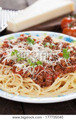 Italian bolognese pasta, spaghetti with ground beef and tomato sauce