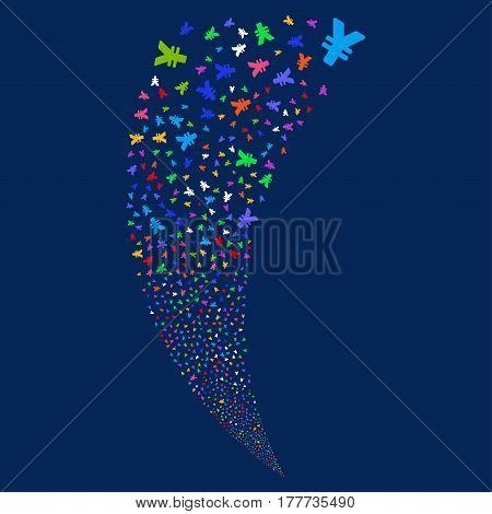 Yen random fireworks stream. Vector illustration style is flat bright multicolored iconic symbols on a blue background. Object fountain constructed from scattered design elements.