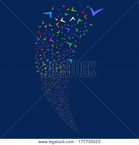 Yes random fireworks stream. Vector illustration style is flat bright multicolored iconic symbols on a blue background. Object fountain made from scattered pictograms.