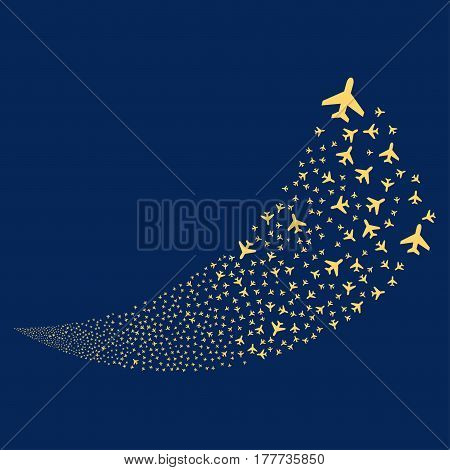 Air Plane random fireworks stream. Vector illustration style is flat yellow iconic symbols on a blue background. Object fountain combined from scattered design elements.
