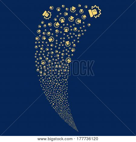 Alarm random fireworks stream. Vector illustration style is flat yellow iconic symbols on a blue background. Object fountain constructed from scattered pictographs.