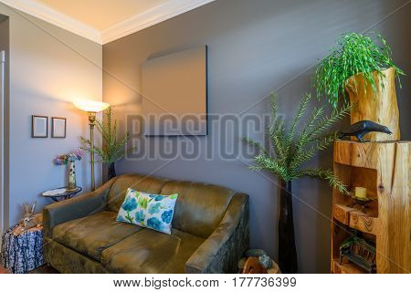Fragment of interior design of a luxury boutique living room