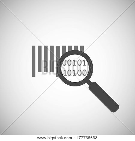 bar code icon . Magnifier and bar code symbol. research bar code