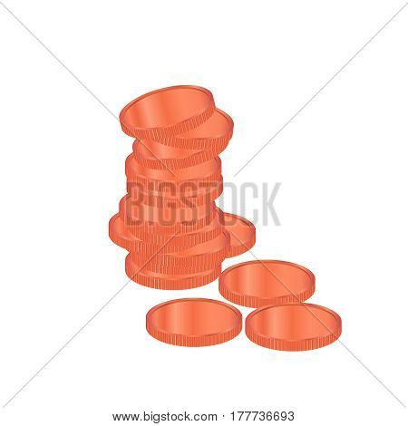 Bronze coins pile vector . Realistic coins . Economy concept