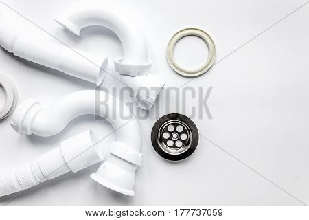 concept plumbing work top view on white background.