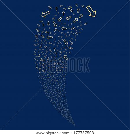 Arrow random fireworks stream. Vector illustration style is flat yellow iconic symbols on a blue background. Object fountain done from scattered design elements.