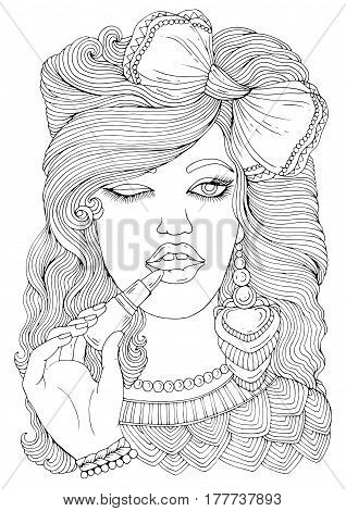 Lips Coloring Pages Clipart Best Ncenaleca adult | 470x318